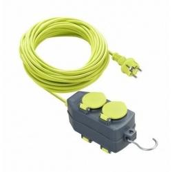 Prolongador de cable Pro XT 15 m Multibase y Gancho. 4 TomasToma Schuko IP44 16 Amperios
