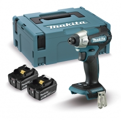Atornillador de impacto BL 18V 5.0Ah LXT 140Nm DTD157RTJ 2 baterías 5,0 Ah, cargador rápido y maletín Makpac